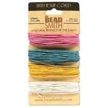 HEMP CORD Sampler 4 SPRING Colors Pink /Teal / Gold/White 120 Feet 1mm 2... - $8.41