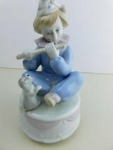 VTG Meico Clown Figurine Porcelain Revolving Musical- Young Boy Flute Puppy - $19.69