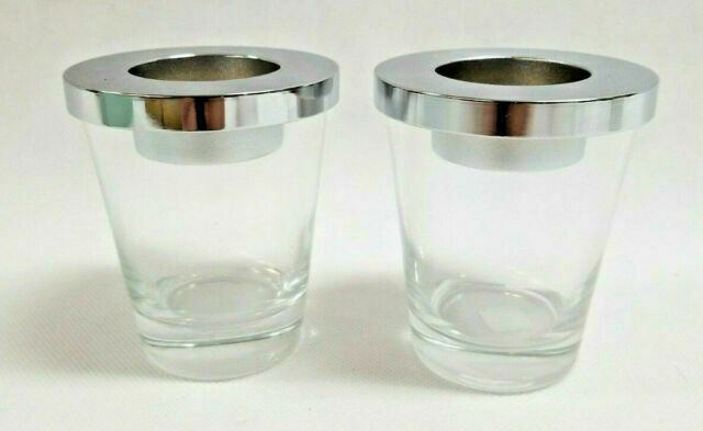 Primary image for PartyLite Pair Clear Glass with Silver Lids Votive Candle Holders - P8488 - New