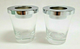 PartyLite Pair Clear Glass with Silver Lids Votive Candle Holders - P848... - $12.50