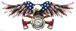 AMERICAN FIREFIGHTER FIRE EAGLE HELMET LAPTOP  MADE IN USA  DECAL STICKER - $16.14