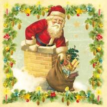 "Christmas Santa Chimney Green 3-PLY 20 Paper Napkins Serviettes 13""x13""–33X33CM - $14.10"