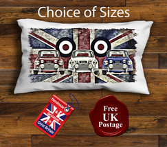 Mini Cooper Rectangular Cushion Cover, Mini, Union Jack, Mod Target, Choice o... - $11.43+