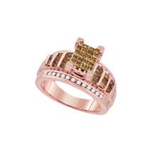 10k Rose Gold Princess Brown Diamond Cluster Bridal Wedding Engagement Ring - $809.00