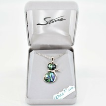 Storrs Wild Pearle Abalone Shell Kitty Cat Kitten Pendant & Silver Tone Necklace