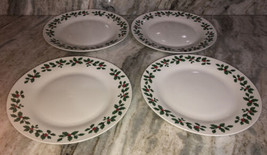 "Dinner Formal Plates 10.5"" Xmas Royal Norfolk Holly/Berries Set Of 4 NEW... - $39.08"
