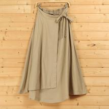 Women High Waist Wrap Skirts Ankle Length Linen Cotton Skirt,Khaki Wine-red Gray image 2