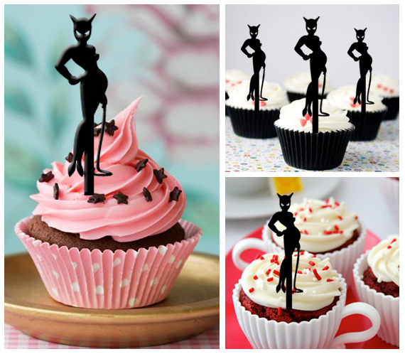 Decorations Birthday Cake TopperCupcake Toppersilhouette Catwoman 11 Pcs