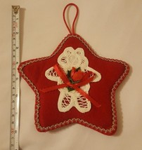Holiday Christmas Ornament Handmade w Fabric Teddy Bear shape Vintage pr... - $13.81