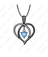 Lovely Promise Heart Shaped Pendant Blue Topaz & Diamond 14K Black GP .9... - $60.71