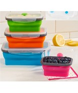 Vented Food Storage Containers Locking Lids Collapsible Stacking Bowls R... - $23.49