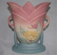 HULL POTTERY Magnolia Pink Blue Vase 7-8 1/2 - $48.00