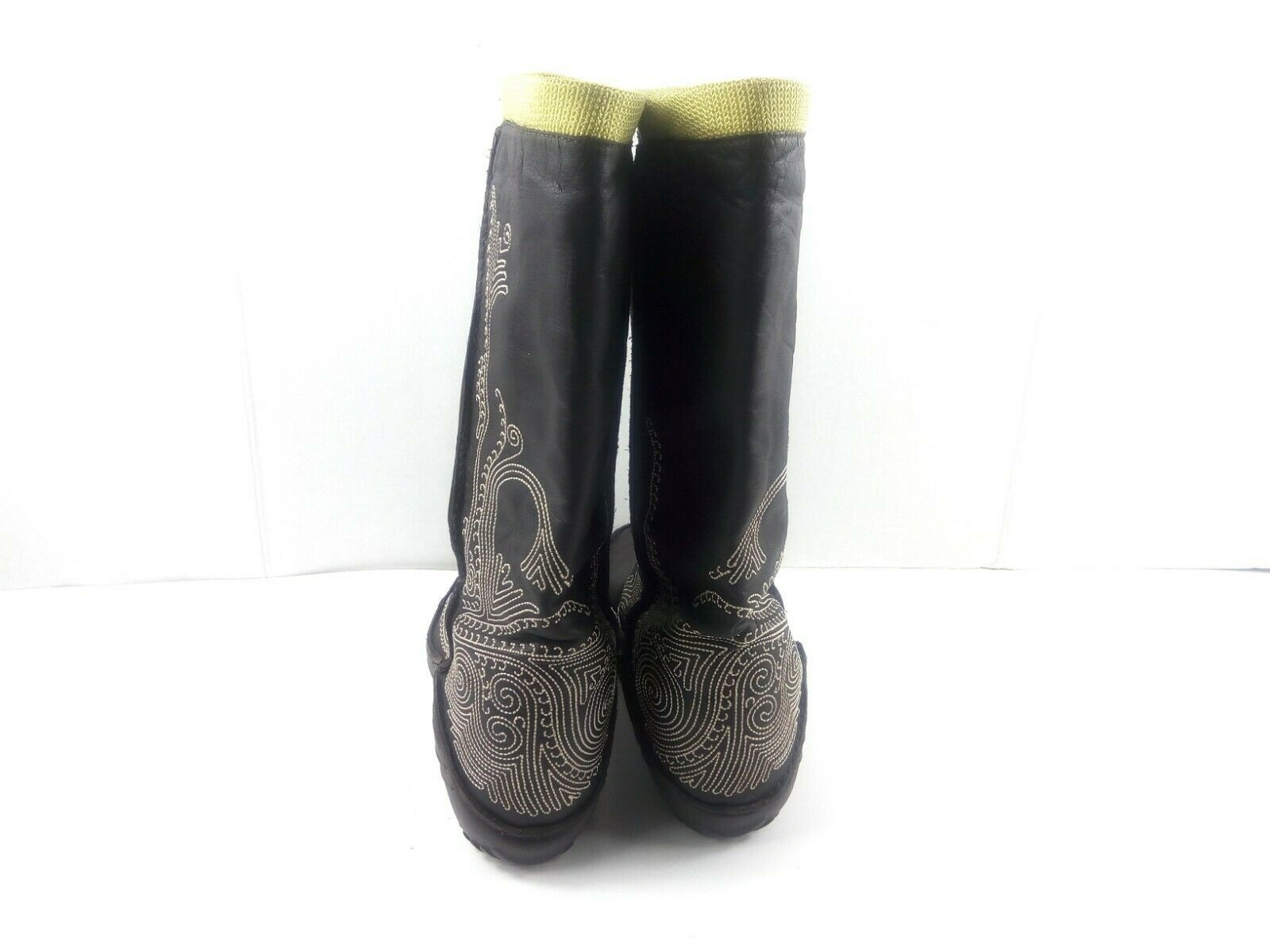 Puma Women's Boots Monsoon Tall Leather Embroidered Brown/Green Booties 7.5 W image 5