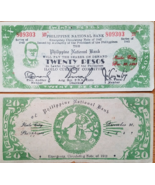 PHILIPPINE Natl Bank ILOILO Emergency Currency 20 Pesos 1942, Roosevelt - $5.95