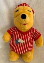 """Winnie The Pooh Bear In Pajamas Nightshirt & Cap Plush 1998 Disney Mattel 14"""" - $17.99"""