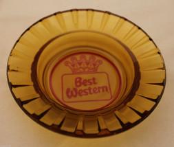 Vintage Best Western Hotel 1960-1970 Logo Amber Glass Round Advertising ... - $26.81