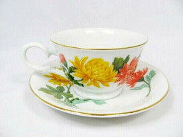 Avon November Chrysanthemum Blossoms of the Month Series Cup Saucer Set ... - $19.79