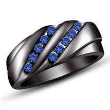 Mens Anniversary Blue Sapphire Band Ring 14k Black Finish 925 Sterling S... - $91.99