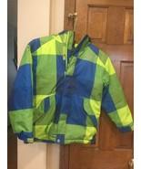 The North Face  Hooded Green Blue Plaid Jacket Coat Boys zip pockets Med... - $48.19