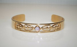 "Delicate Vintage Avon Glass Opal Filgiree Gold Tone Cuff Bracelet 7"" - $10.40"
