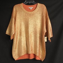 $119 NWT Coldwater Creek Sweater Womens Large 14 Gold Shimmer Short Sleeve - $20.00