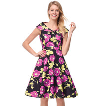 AOVEI Pink Floral Print Sailor Collar 50s Flared Sweet Pleated Swing Dress - $24.99