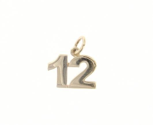 18K YELLOW GOLD NUMBER 12 TWELVE PENDANT CHARM, 0.7 INCHES, 17 MM, MADE IN ITALY