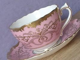 Vintage 1950's Coalport Bone China pink and gold Anniversary Tea Cup Teacup - $167.31