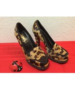 YSL YVES SAINT LAURENT JEANNE Moccasin Leopard Printed Calf Leather Plat... - $180.00