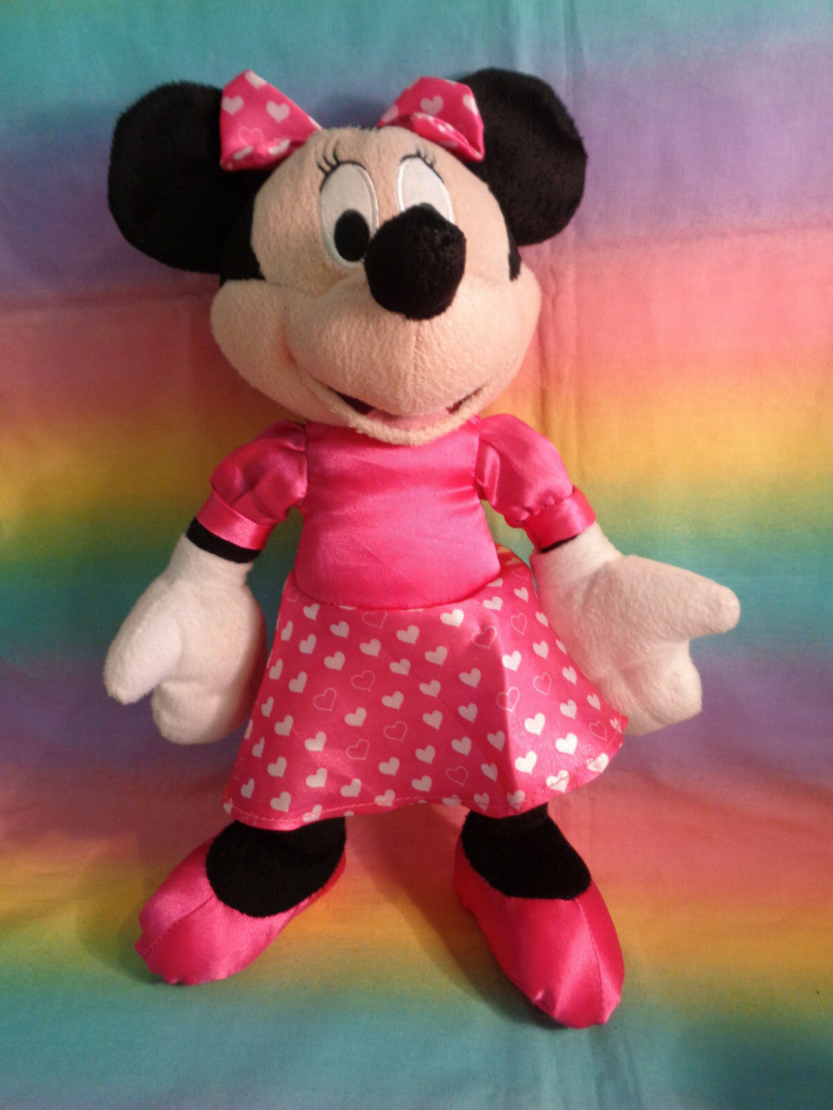 "Disney Kcare Kiu Hung Industries Minnie Mouse Pink Dress Plush Doll 13"""