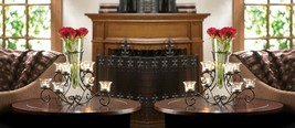 2 Stunning Scrollwork Candle Stand with 8 Glass Cups Vase in Center Centerpieces - $57.95