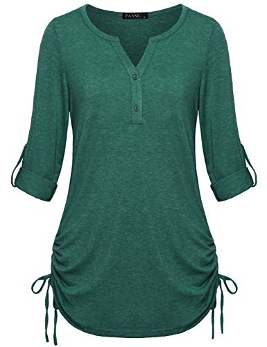 FANSIC Shirts for Leggings, Womens Casual Loose Lightweight V Neck Long Sleeve H