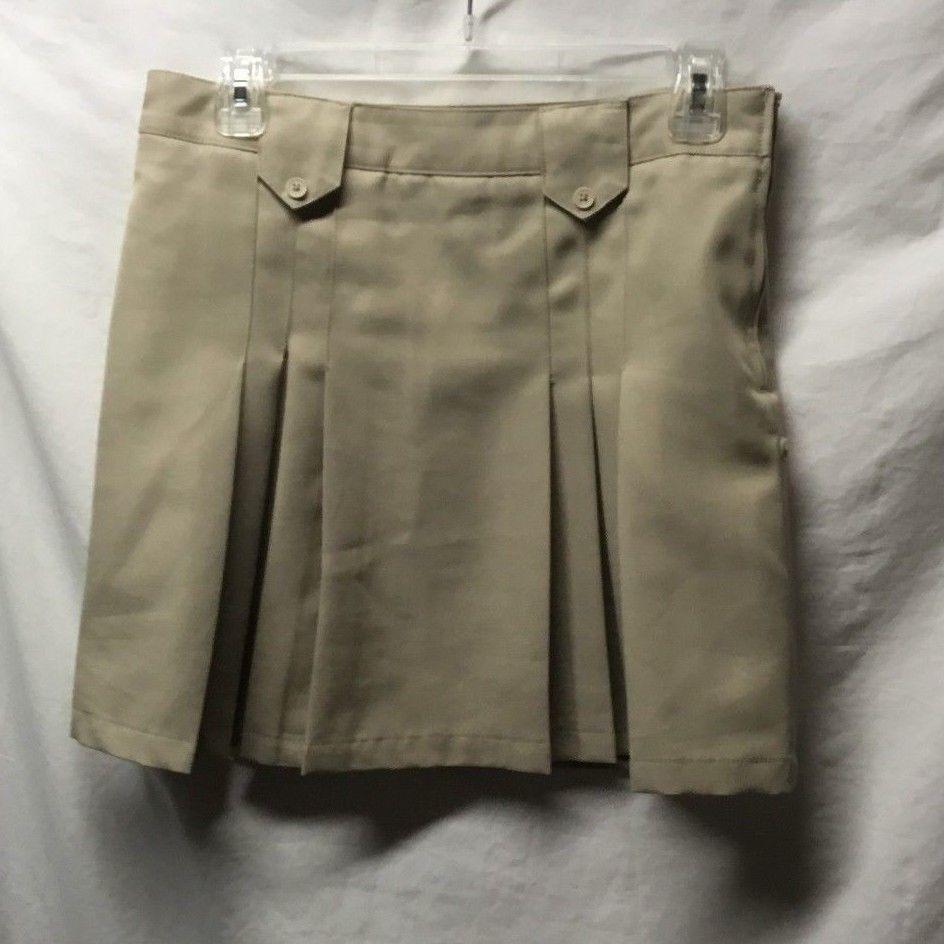 Khaki, 10 1//2 Plus Chaps Girls Approved Schoolwear Stretch Knit Waist Shorts