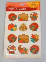 Vintage Hallmark Thanksgiving stickers 4 Sheets Turkey corn pumpkins basket - $14.88