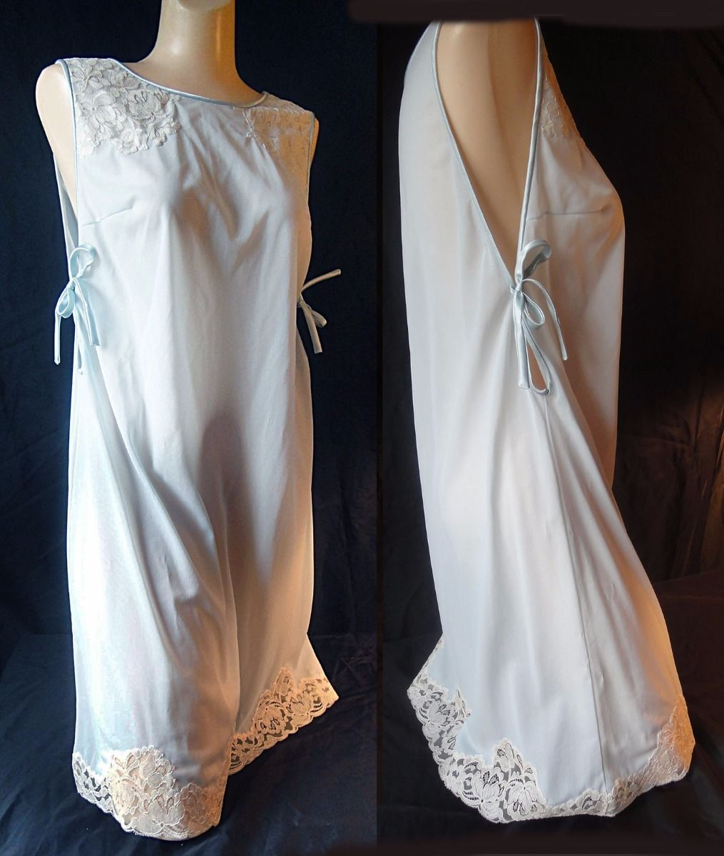 Primary image for Vintage 60s Vassarette nightgown pale blue Grecian style  nylon lace tricot S