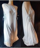 Vintage 60s Vassarette nightgown pale blue Grecian style  nylon lace tri... - $18.00