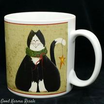 Sakura Fiddlestix Christmas Cat Coffee Mug Cup Black White Tuxedo Cat - $12.99
