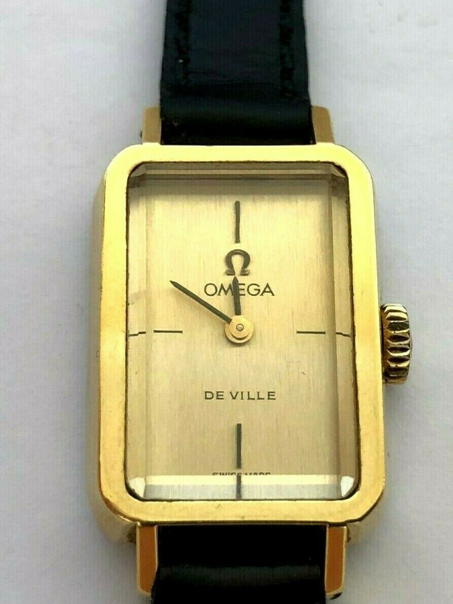 Primary image for Vintage OMEGA De Ville Gold Plated Mechanical Rectangle Ladie`s Watch 70`s
