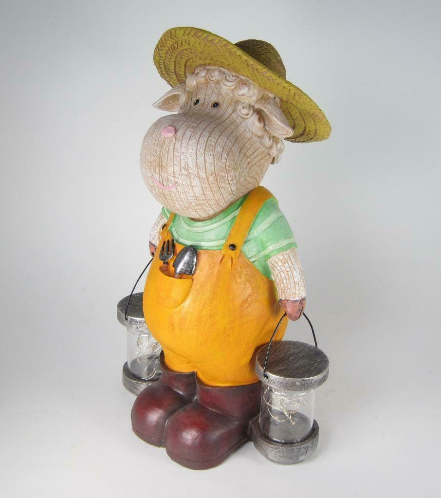"Primary image for 13"" Whimsical Sheep Figurine in Coveralls & Straw Hat Holding Solar Lighted Jars"