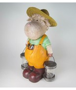 "13"" Whimsical Sheep Figurine in Coveralls & Straw Hat Holding Solar Ligh... - $43.51"