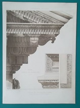 ROME Temple of Vespasian Roof Eave - SUPERB 1905 Espouy Heliogravure Print - $29.70