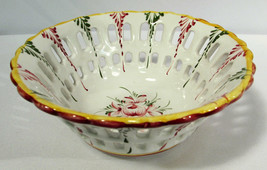 Hand Painted Reticulated Reel Portugal Art Pottery Bowl - $21.77