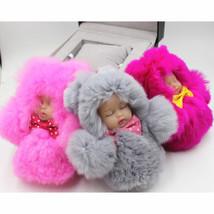 1pcs Keychain 12cm Cute Sleeping Baby Swollen Pom Pom Keyring Bag Bag fo... - $6.99