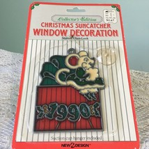 Vtg Xmas Sun Catcher 1990 Holiday Mouse Sitting on Christmas Gift Red Green - $2.96