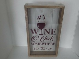 Wine Cork Holder Shadow Box Wall Mounted it's Wine O'Clock Somewhere - $29.65