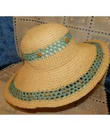 Ladies Wide Brim Summer Straw Hat Blue Weaving w/Beads 49 Inch Circumfer... - $24.70