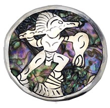 Sterling Silver Abalone Taxco Mexico Brooch Pin Pendant Aztec DR Eagle V... - $22.77