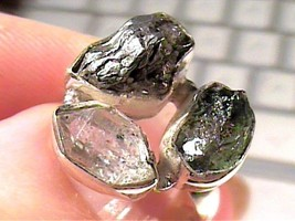Sterling silver 925 ring 6 NATURAL ROUGH HERKIMER DIAMOND METEORITE TRIO... - £50.18 GBP