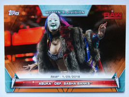 2019 Topps WWE Women's Division Asuka Def Sasha Banks Orange Parallel Card 03/50 - $19.99