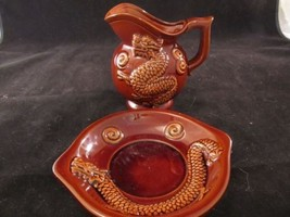 Ceramic Dragon Pitcher and Plate Set Brown Raised Relief Made In Japan V... - $25.25